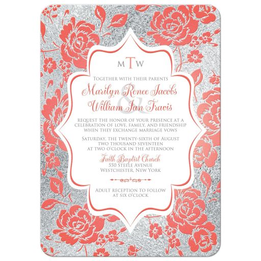 Coral and silver floral wedding invitations with monograms and scroll.
