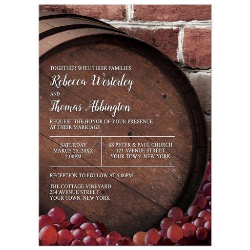 Wedding Invitations - Rustic Wine Barrel Vineyard