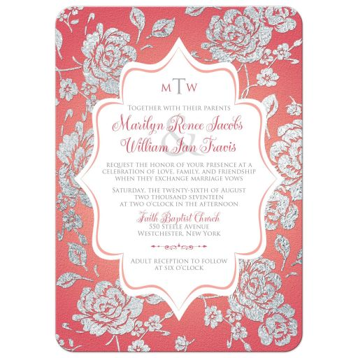 Monogrammed coral pink, white and silver floral and damask pattern wedding invitation with decorative flourish.
