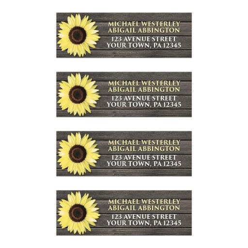 Address Labels - Rustic Sunflower Wood Yellow Brown