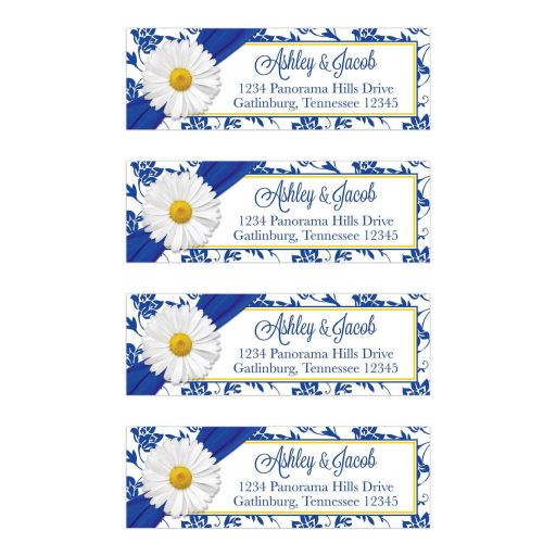 White shasta daisy and royal blue floral damask and ribbon personalized wedding return address labels
