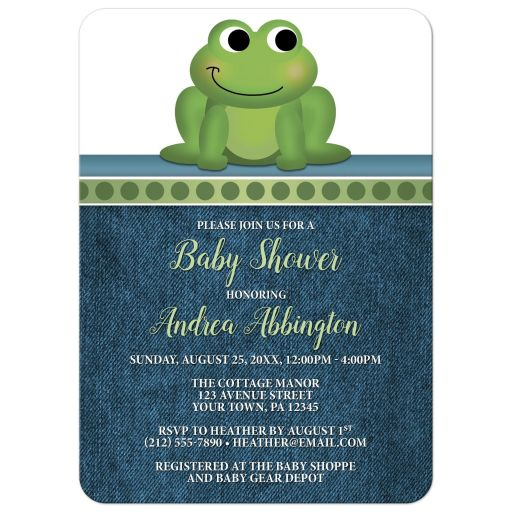 Baby Shower Invitations - Cute Frog Green Rustic Blue Denim