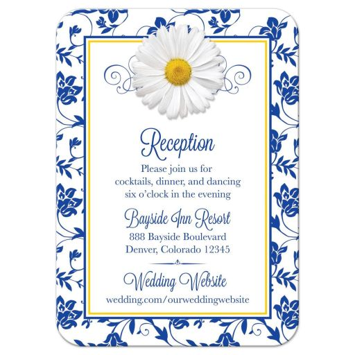 White shasta daisy and royal blue floral damask and ribbon wedding reception insert card front