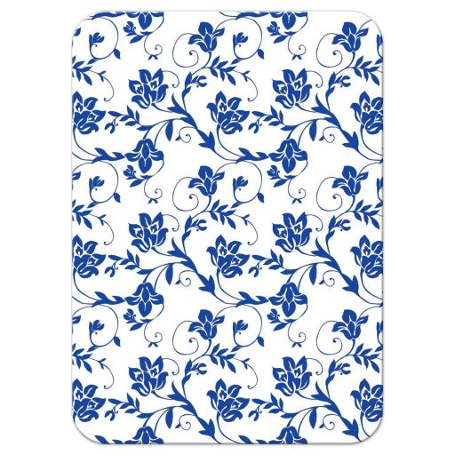 White shasta daisy and royal blue floral damask and ribbon wedding reception insert card back