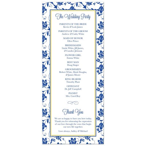 White daisy and royal blue floral damask and ribbon wedding program back