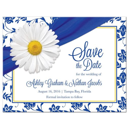 White daisy and royal blue floral damask and ribbon personalized wedding save the date postcard front