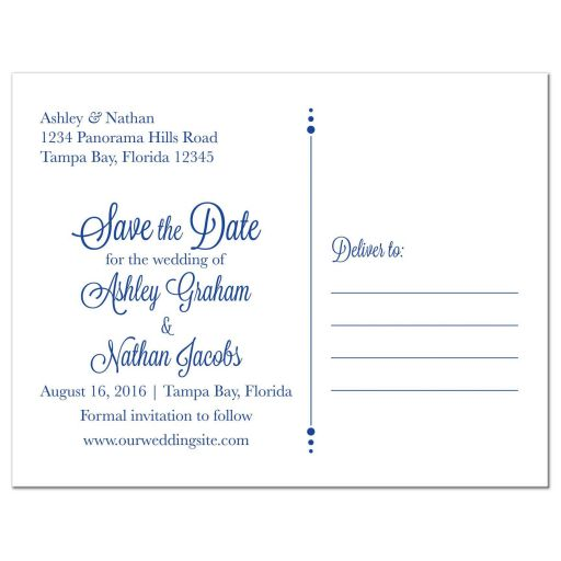 White daisy and royal blue floral damask and ribbon personalized wedding save the date postcard back