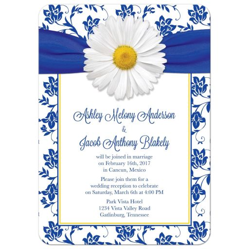 Personalized white daisy royal blue damask floral post wedding reception only invitations front