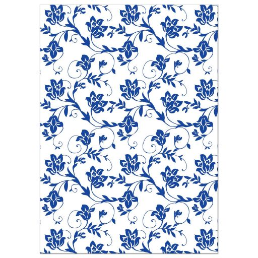 Personalized white daisy royal blue damask floral post wedding reception only invitations back