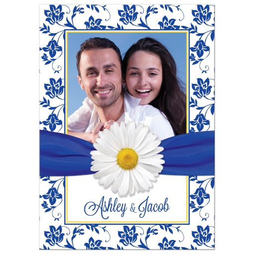 ​White daisy and royal blue floral damask and ribbon photo wedding invitation front