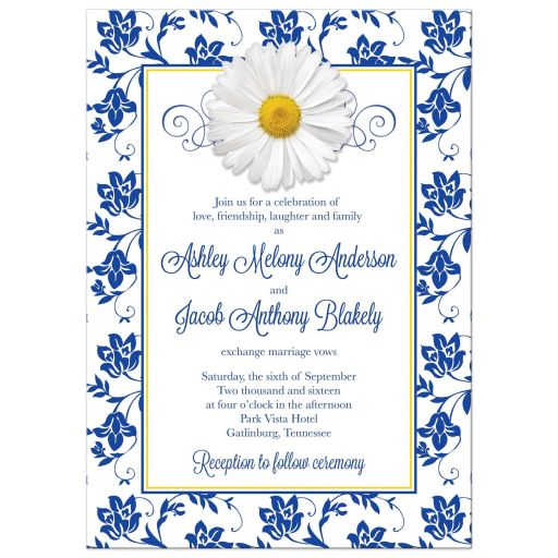 ​White daisy and royal blue floral damask and ribbon photo wedding invitation back