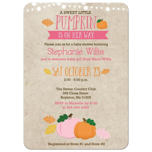 Pumpkin Girl Baby Shower Invitations Fall Autumn