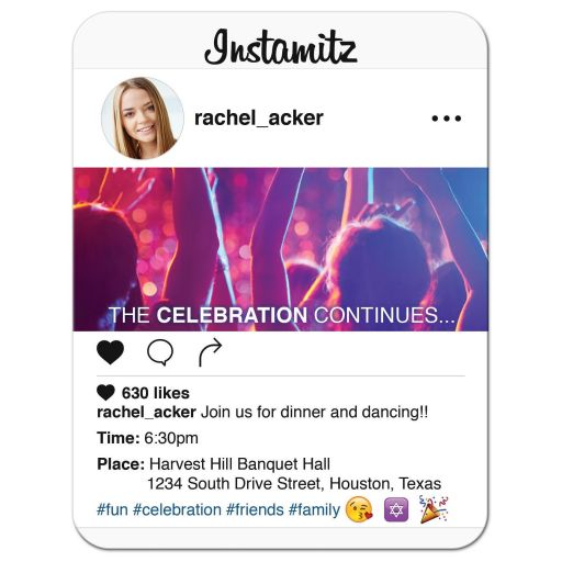 Fun and unique photo sharing social media Bat Mitzvah reception party insert card