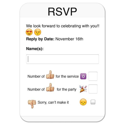 Fun and unique photo sharing social media themed Bat Mitzvah RSVP card