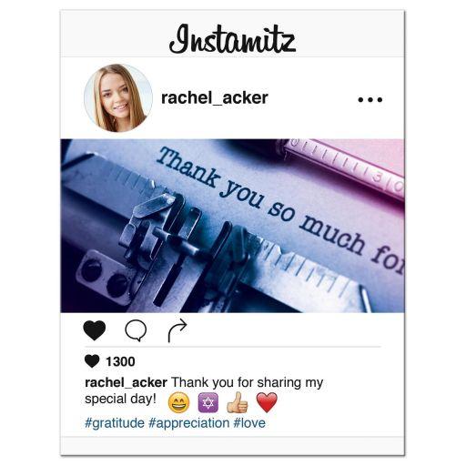 Fun and unique photo sharing social media Bat Mitzvah thank you card