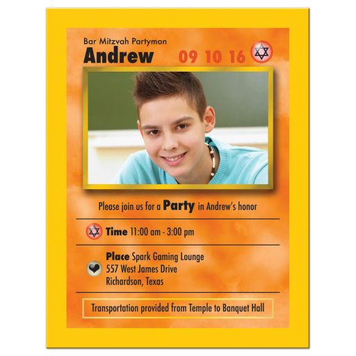 Video game trading card Bar Mitzvah reception party insert card front