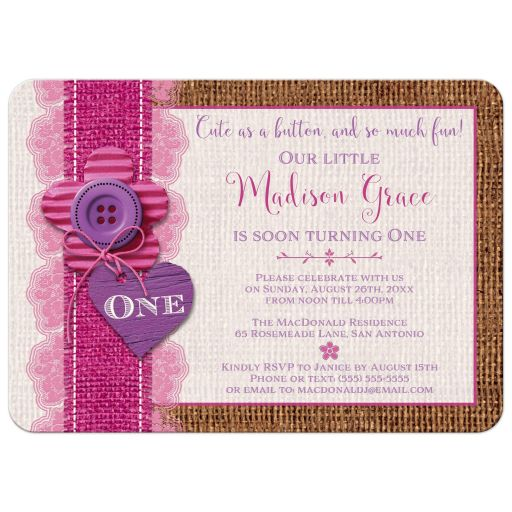 Burlap and pink lace Cute as a Button 1st birthday invitations with optional photo template.