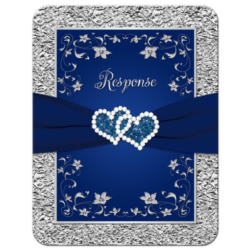 Affordable navy blue and silver floral wedding rsvp cards with joined glitter hearts and scrolls