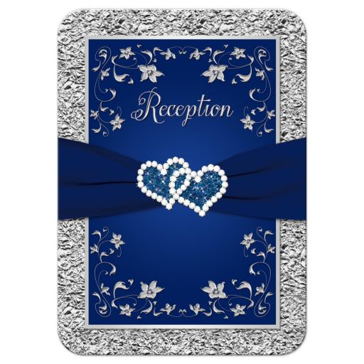 Affordable navy blue and silver floral wedding reception cards with joined glitter hearts and ribbon