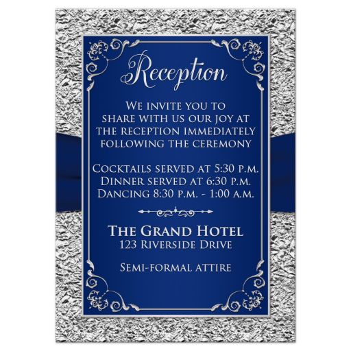 Elegant navy blue and silver grey floral wedding enclosure card with joined jewel hearts and ribbon