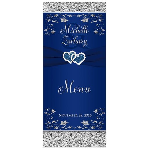 Navy blue and silver gray floral wedding menu card with ribbon and jewel joined hearts