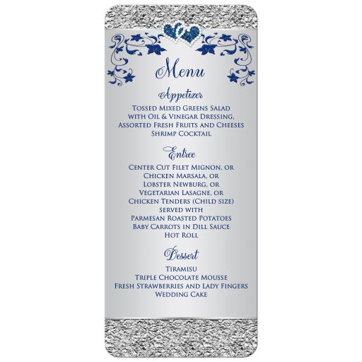 Affordable blue and silver grey floral wedding reception menu with joined hearts and ribbon