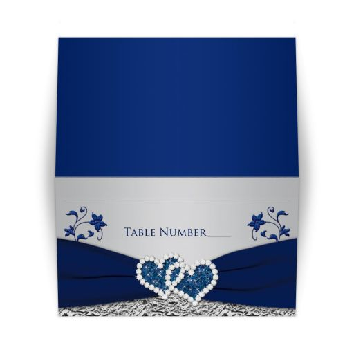 Navy blue and silver gray wedding place card with ribbon and jewel joined hearts