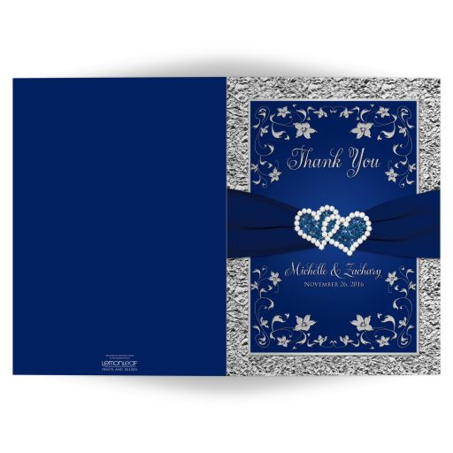 Navy blue and silver gray floral wedding thank you card with ribbon and jewel joined hearts and photo