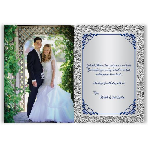 Affordable blue and silver grey floral wedding photo thank you card with joined hearts and ribbon