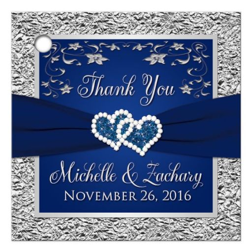 Navy blue and silver gray floral wedding favor tag with ribbon and jewel joined hearts