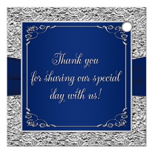 Personalized navy blue and silver foil wedding favor thank you gift tag with ribbon and joined hearts