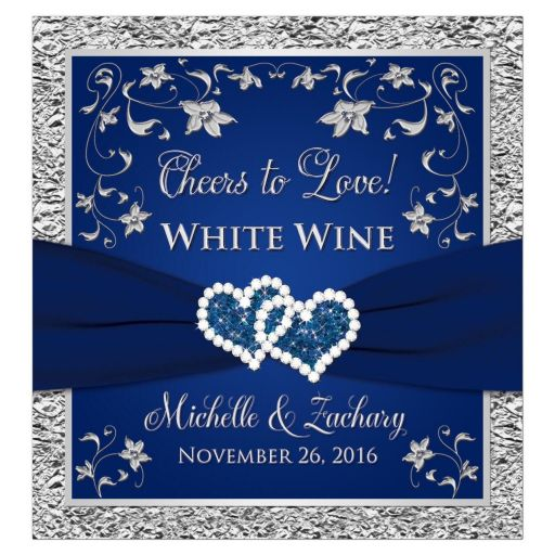 """Personalized """"Cheers to Love!"""" navy blue and silver wedding wine or beverage labels with double joined jewel hearts, ribbon and grey flowers."""