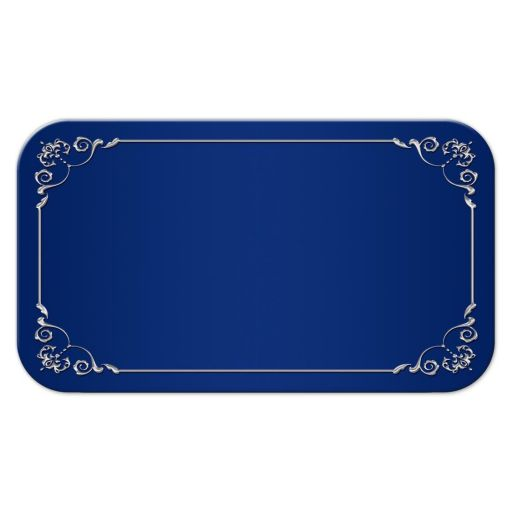 Elegant wedding place cards or escort cards in royal blue and silver gray with ribbon, flowers, and jeweled double hearts.
