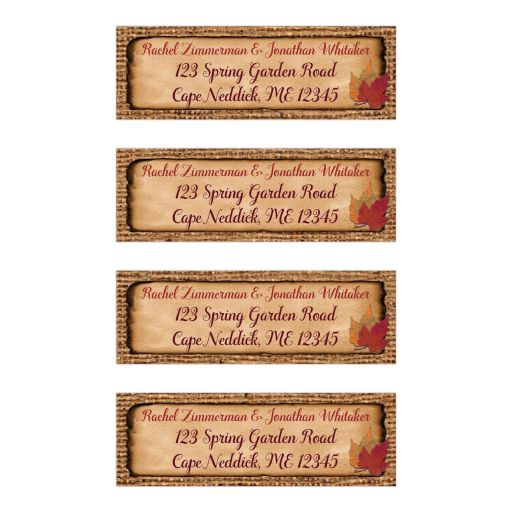 ​Personalized return address mailing labels with burlap, faux aged and burnt edge paper, and fall leaves in red, rust, orange, and gold.