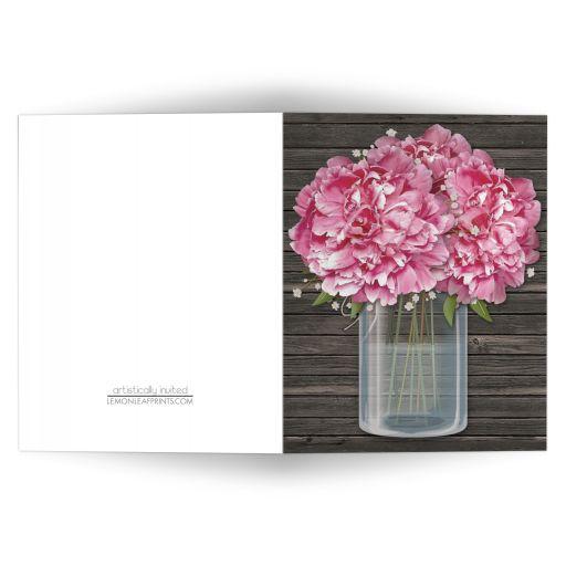 Note Cards - Rustic Pink Peony Mason Jar Wood