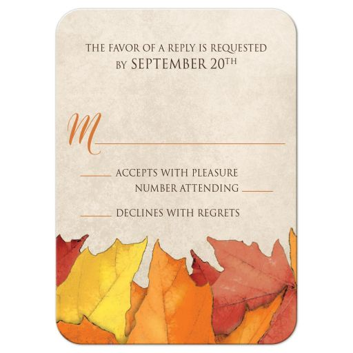 RSVP Reply Cards - Fall Rustic Wood and Leaves