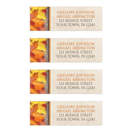 Address Labels - Fall Rustic Wood and Leaves