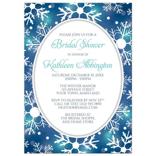 Bridal Shower Invitations - Winter Bokeh Blue Teal Snowflake