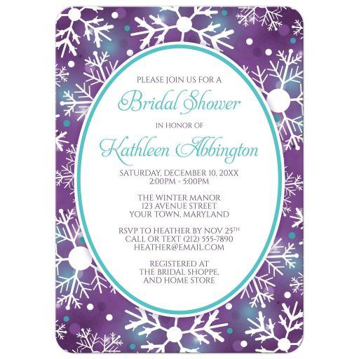 Bridal Shower Invitations - Winter Bokeh Purple Teal Snowflake