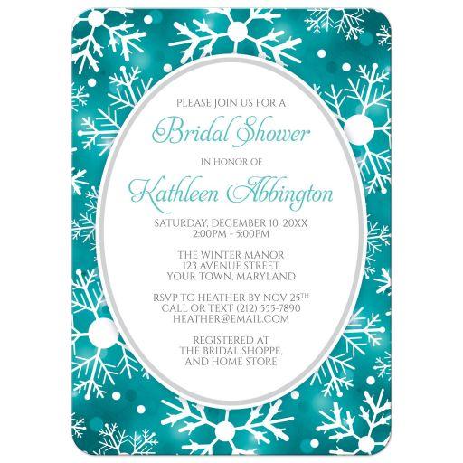 Bridal Shower Invitations - Winter Bokeh Teal Snowflake