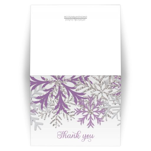 Thank You Cards - Winter Snowflake Purple Silver