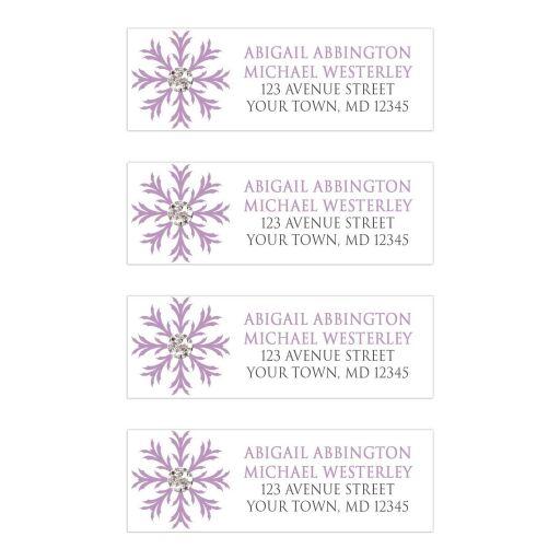 Address Labels - Winter Snowflake Purple Silver
