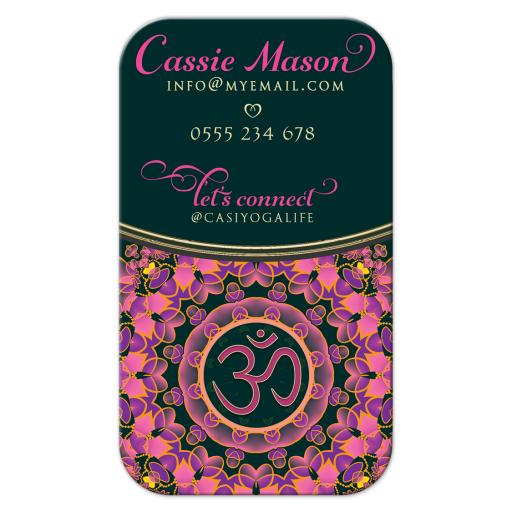 OMYoga Pink Purple Mandala Business Cards