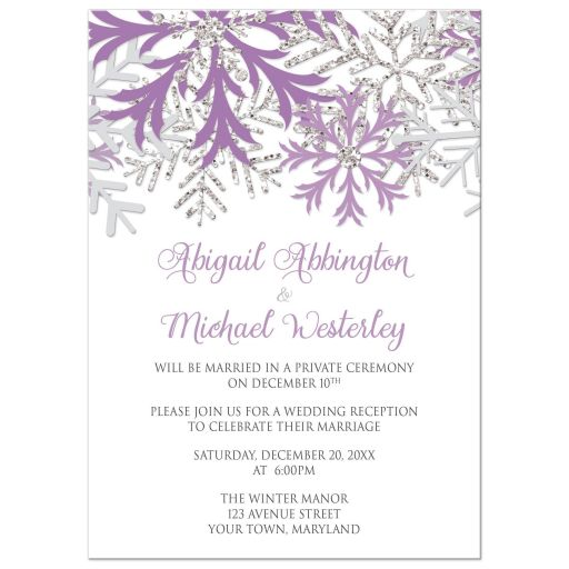 Reception Only Invitations - Winter Snowflake Purple Silver