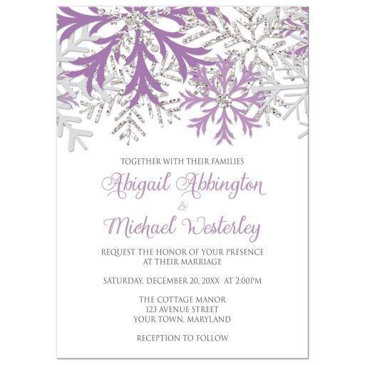 Wedding Invitations - Winter Snowflake Purple Silver