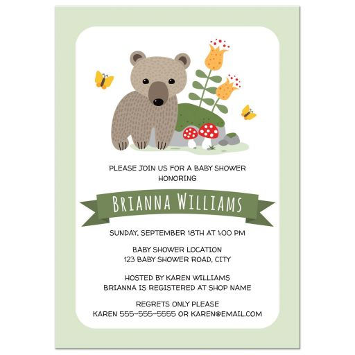 Woodland bear, toadstool, flowers baby shower invitations