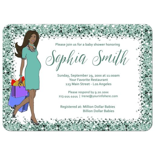 Sparkly Green Confetti Baby Shower Invitation for African American