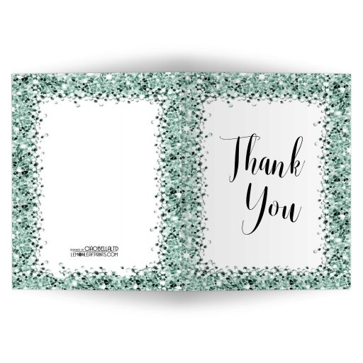 Sparkly Green Confetti Thank You Card