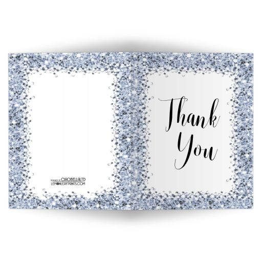 Sparkly Blue Confetti blank Thank You Cards