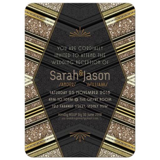 Art Deco Wedding Invitation | Black+Gold Glitter Look 5x7